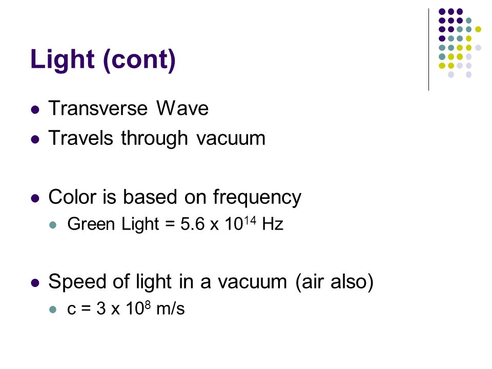Light (cont) Transverse Wave Travels through vacuum