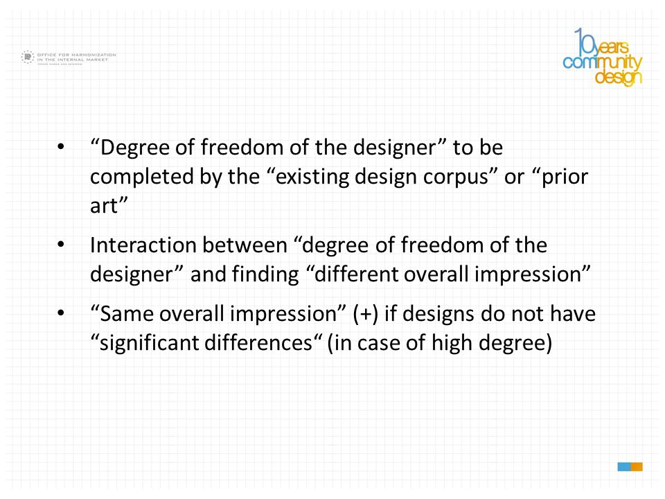 Degree of freedom of the designer to be completed by the existing design corpus or prior art