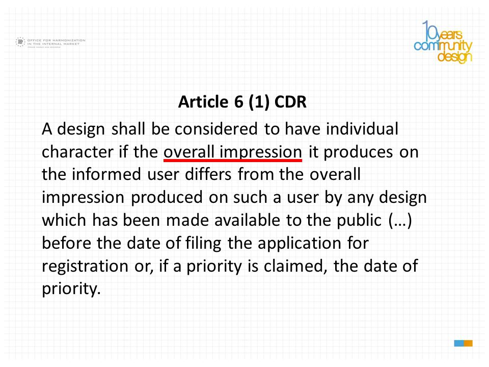 Article 6 (1) CDR