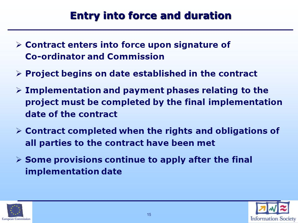 Entry into force and duration