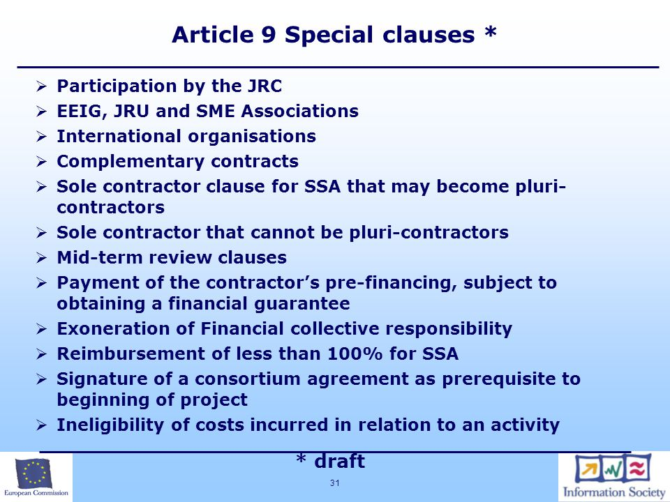 Article 9 Special clauses *