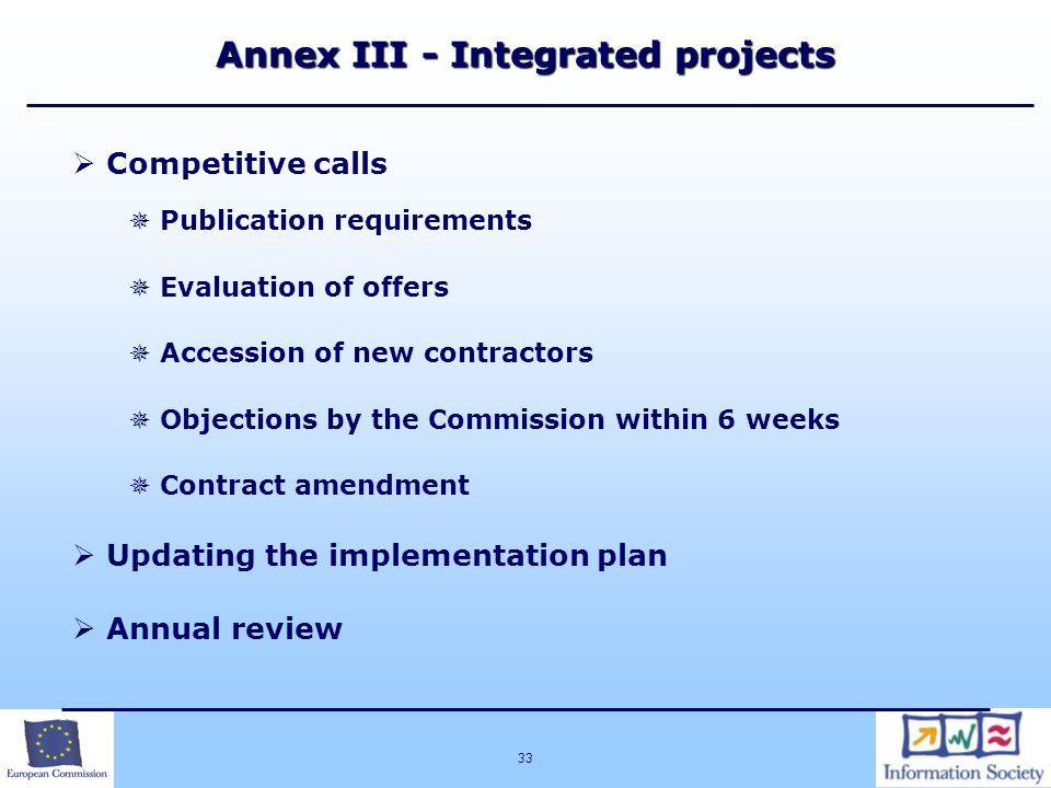 Annex III - Integrated projects