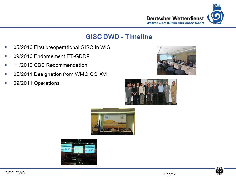 GISC DWD - Timeline 05/2010 First preoperational GISC in WIS