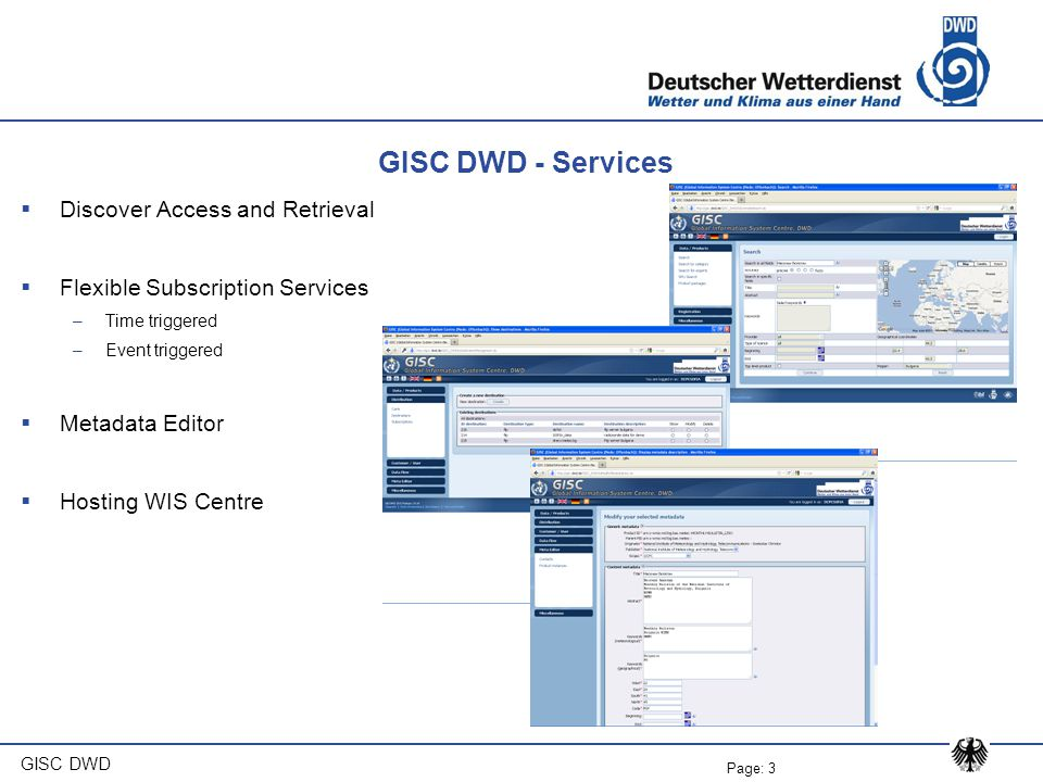 GISC DWD - Services Discover Access and Retrieval