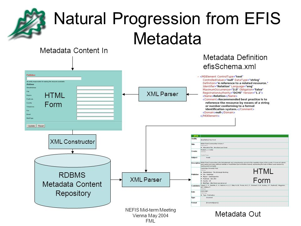 Natural Progression from EFIS Metadata