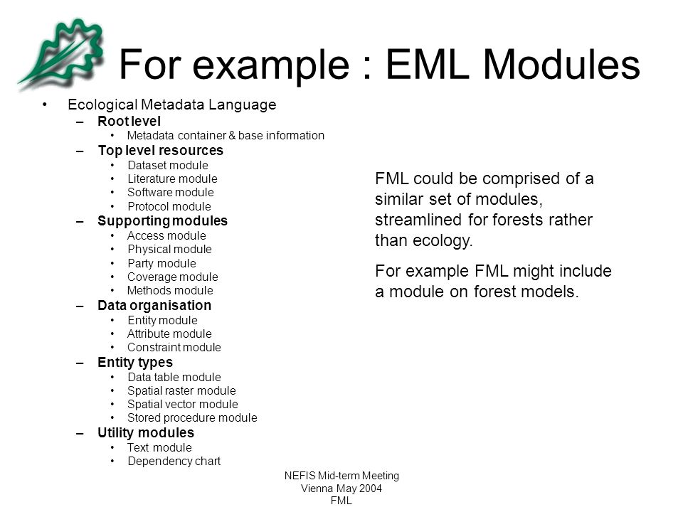 For example : EML Modules