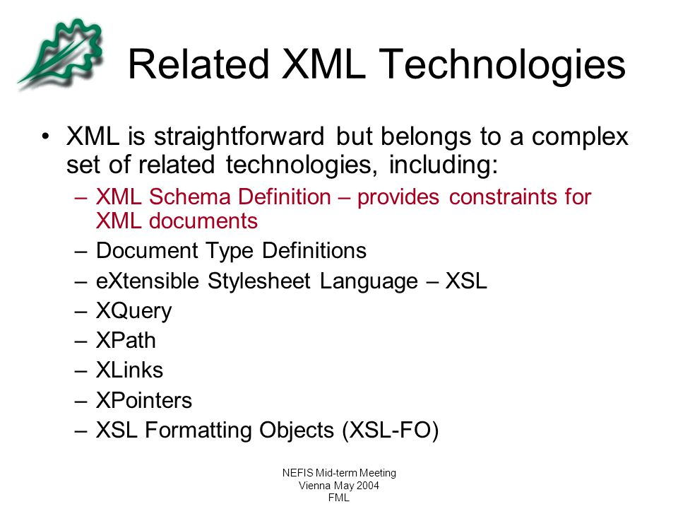 Related XML Technologies