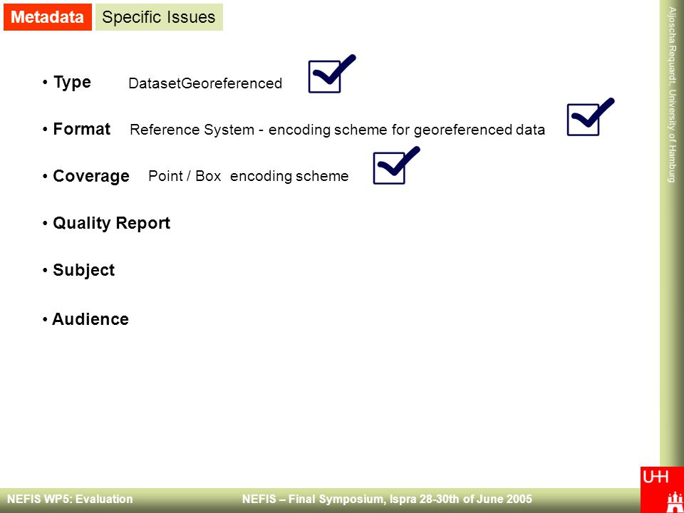 Metadata Specific Issues Type Format Coverage Quality Report Subject