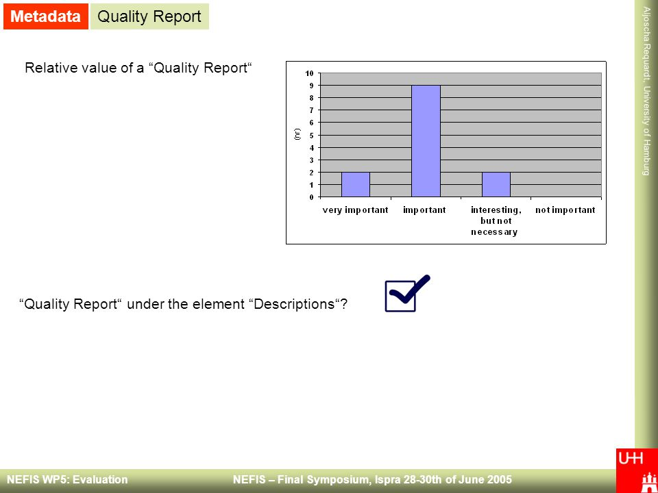 Metadata Quality Report Relative value of a Quality Report