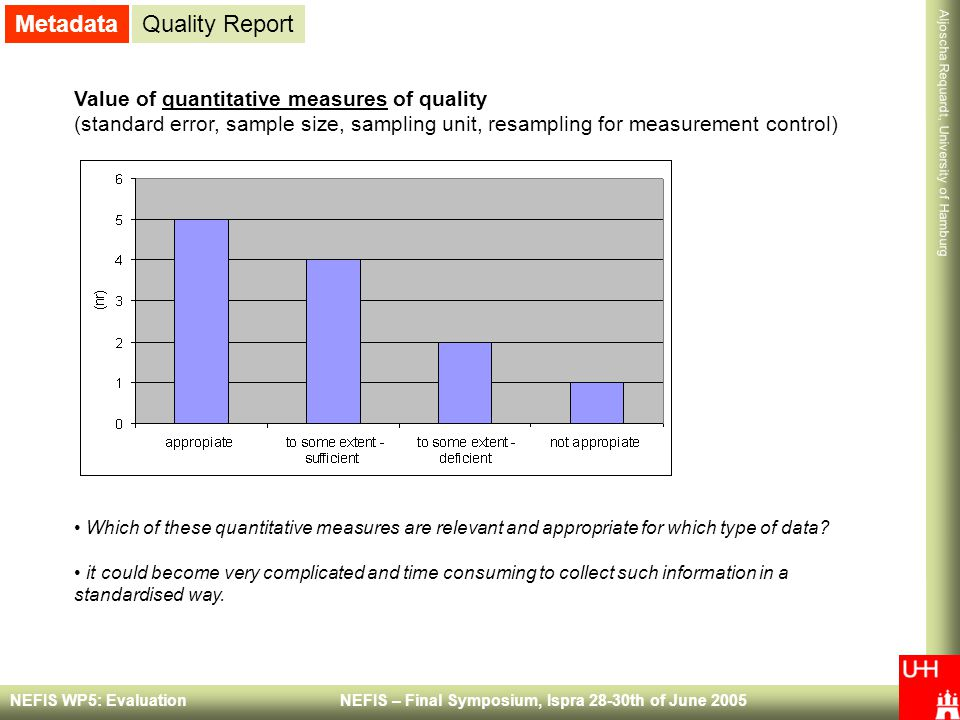 Metadata Quality Report Value of quantitative measures of quality
