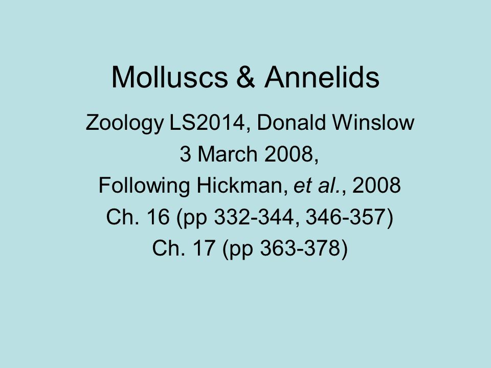 Molluscs & Annelids Zoology LS2014, Donald Winslow 3 March 2008,