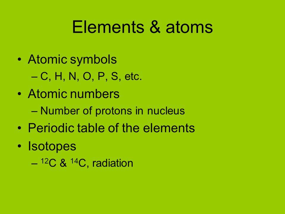 Elements & atoms Atomic symbols Atomic numbers