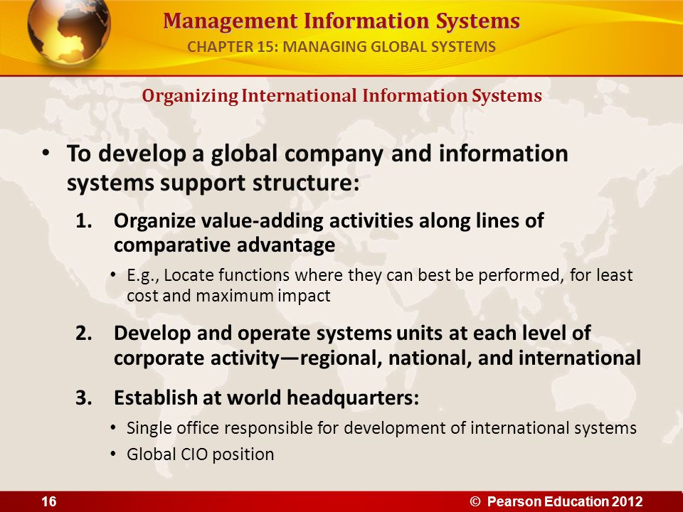 CHAPTER 15: MANAGING GLOBAL SYSTEMS