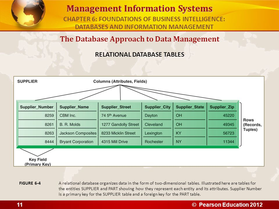 The Database Approach to Data Management RELATIONAL DATABASE TABLES