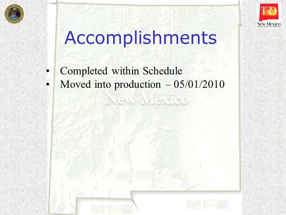 Accomplishments Completed within Schedule