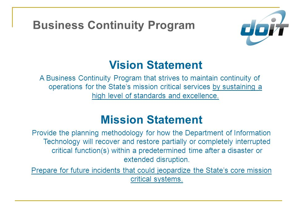 Business Continuity Program