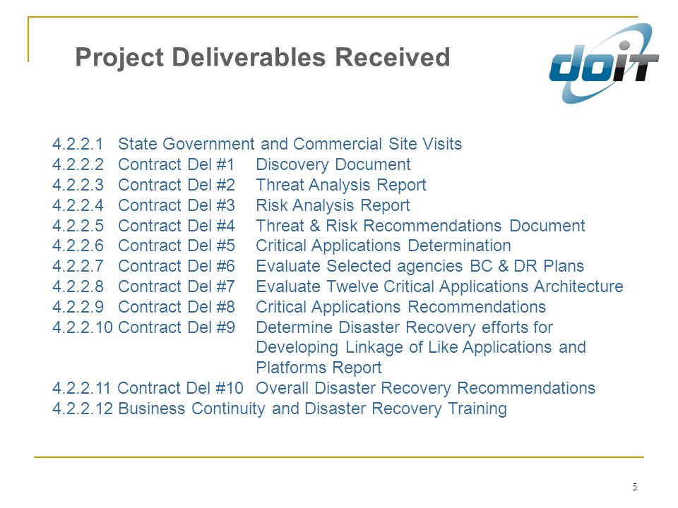 Project Deliverables Received