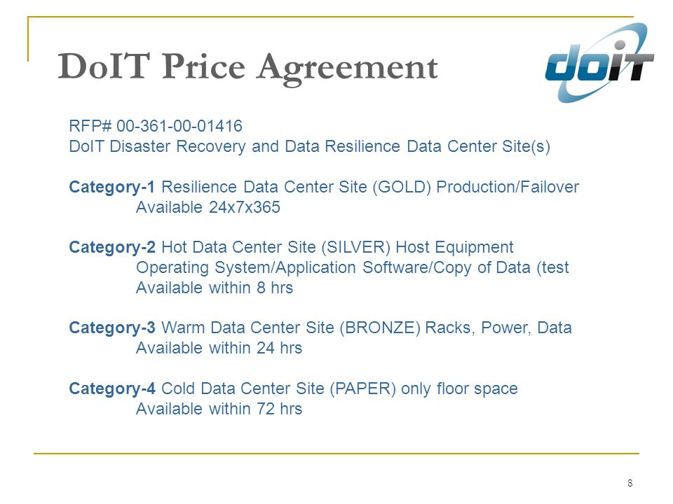 DoIT Price Agreement RFP# 00-361-00-01416