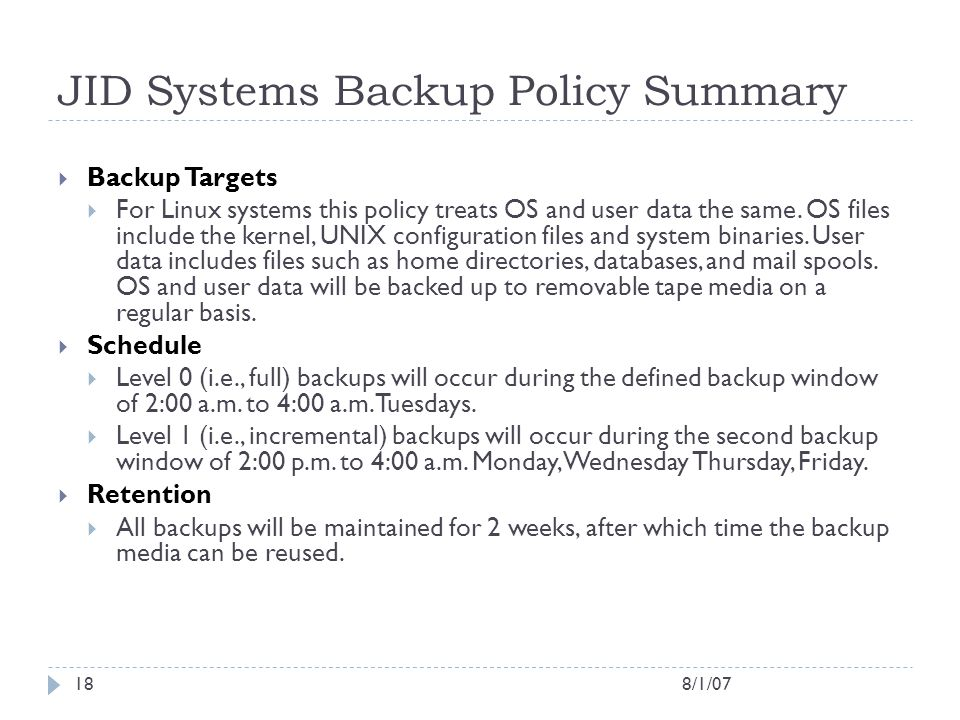JID Systems Backup Policy Summary