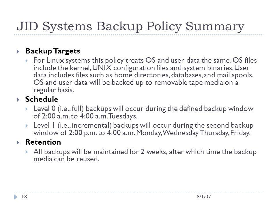 JID Systems Backup Policy Summary