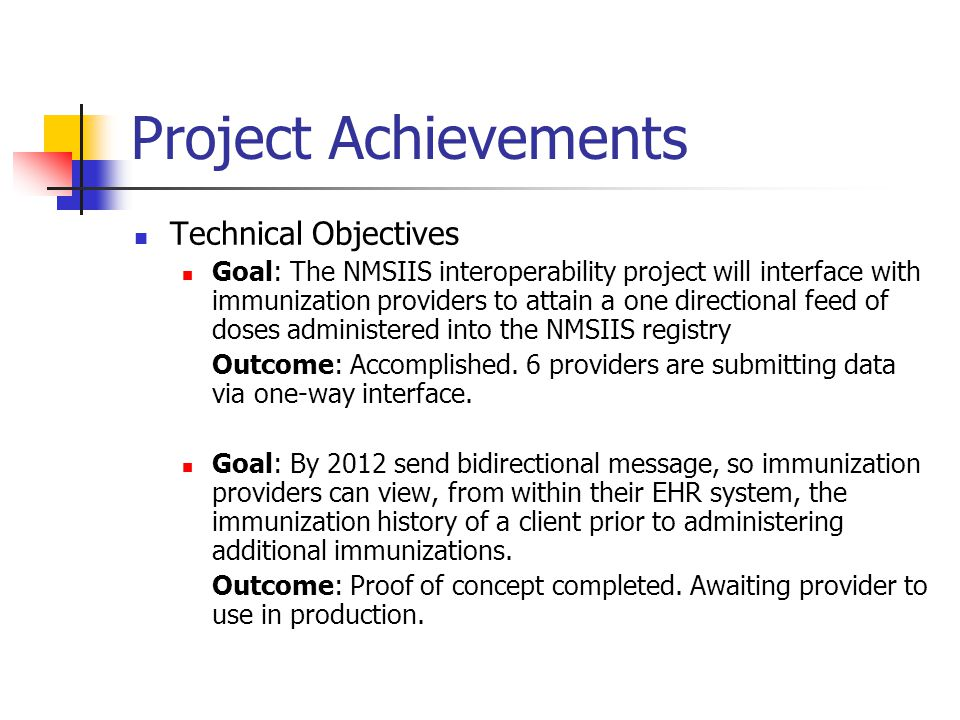 Project Achievements Technical Objectives
