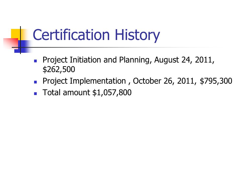 Certification History