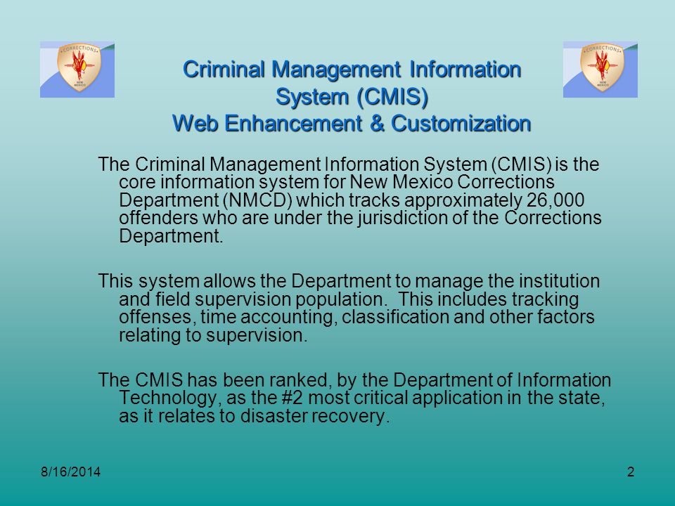 Criminal Management Information System (CMIS)