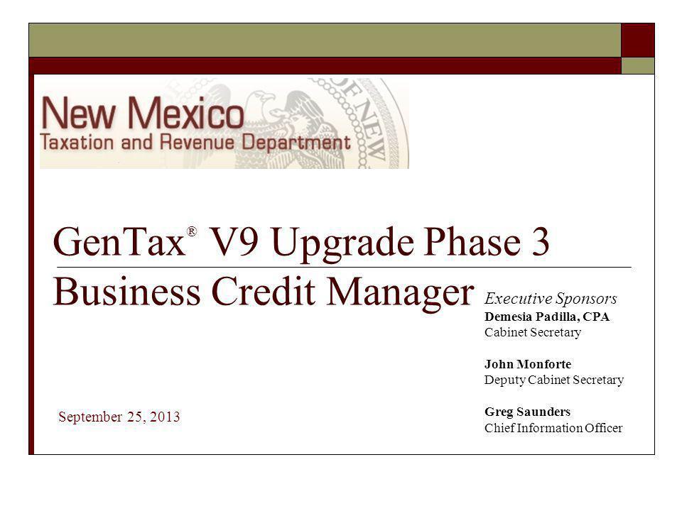 GenTax® V9 Upgrade Phase 3 Business Credit Manager