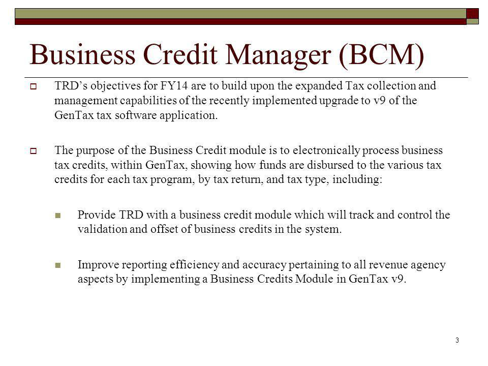Business Credit Manager (BCM)