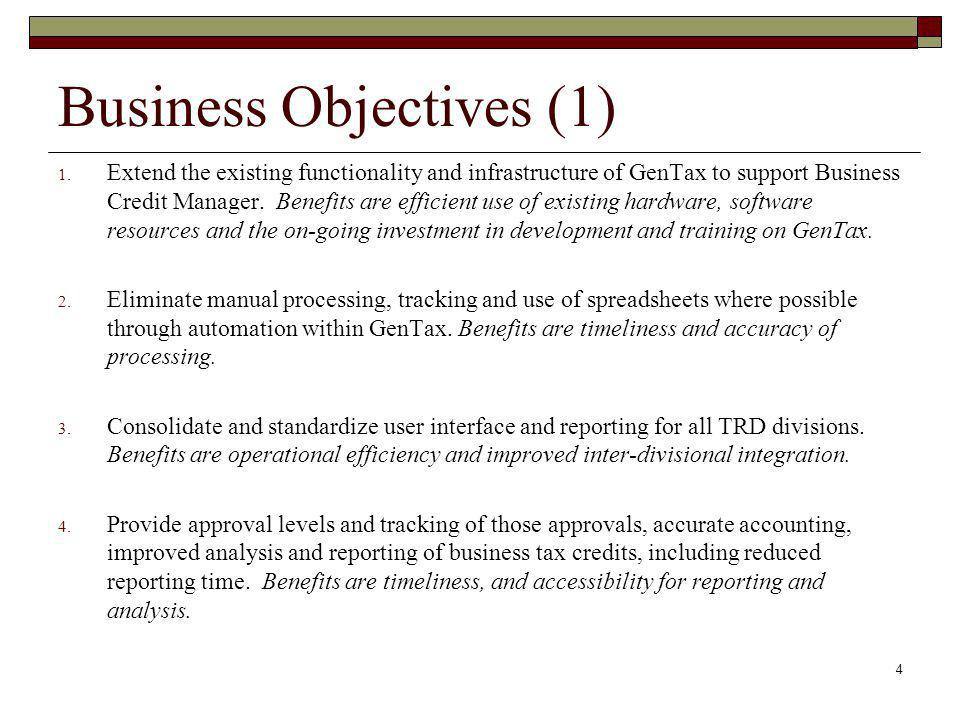 Business Objectives (1)