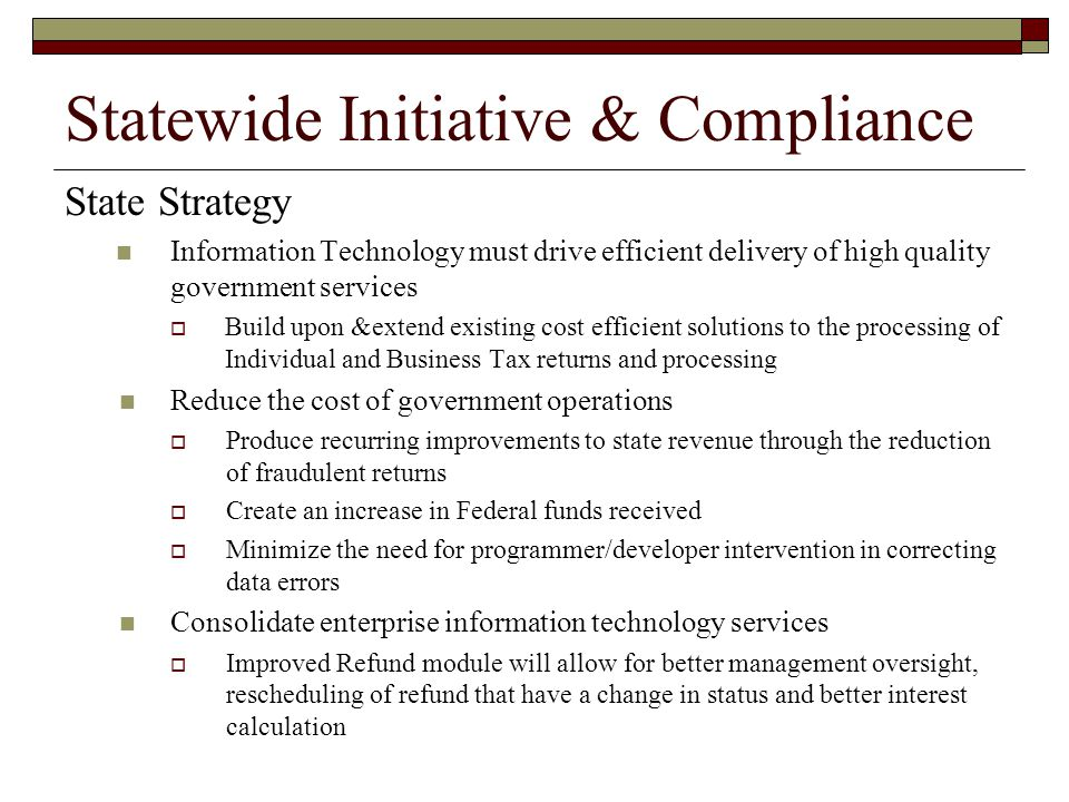 Statewide Initiative & Compliance