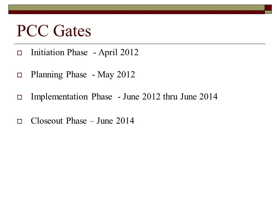 PCC Gates Initiation Phase - April 2012 Planning Phase - May 2012