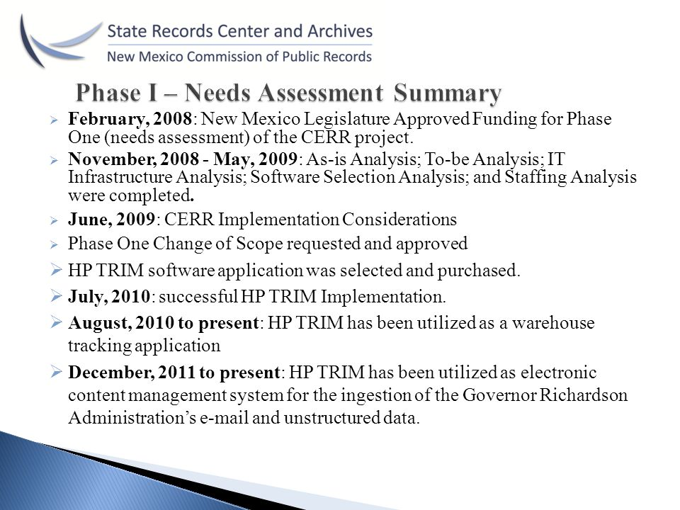 Phase I – Needs Assessment Summary
