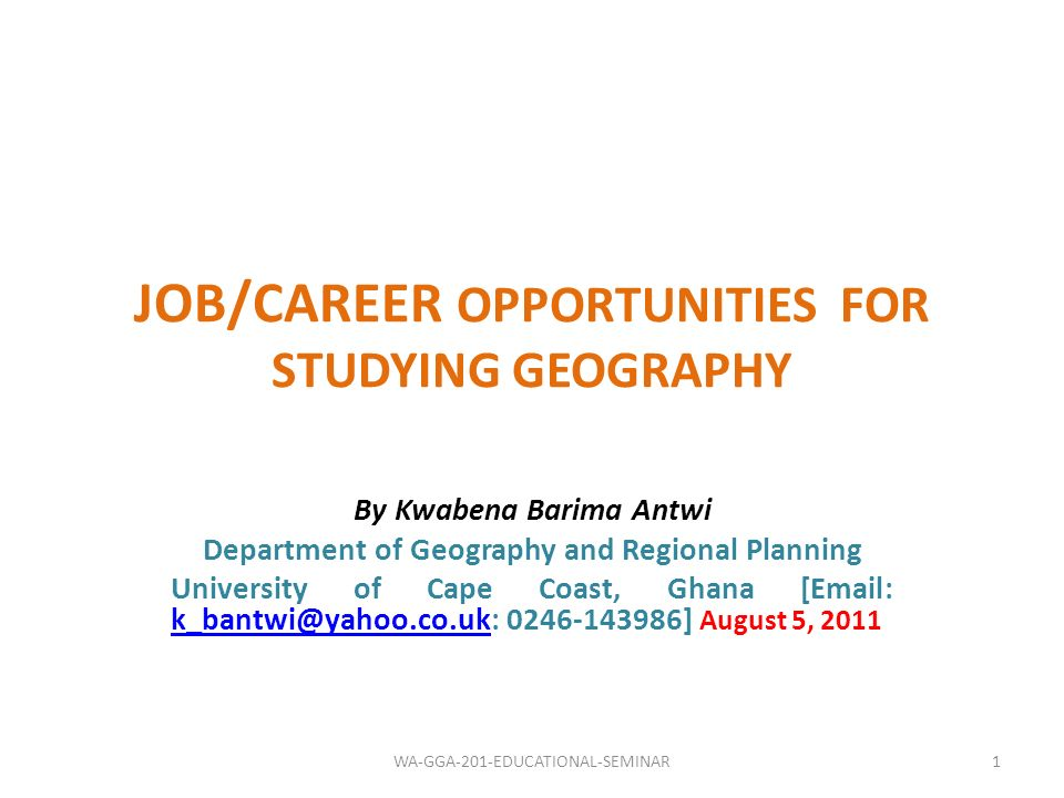 JOB/CAREER OPPORTUNITIES FOR STUDYING GEOGRAPHY
