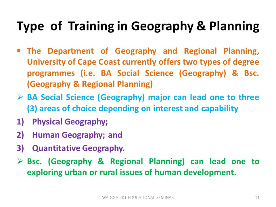 Type of Training in Geography & Planning