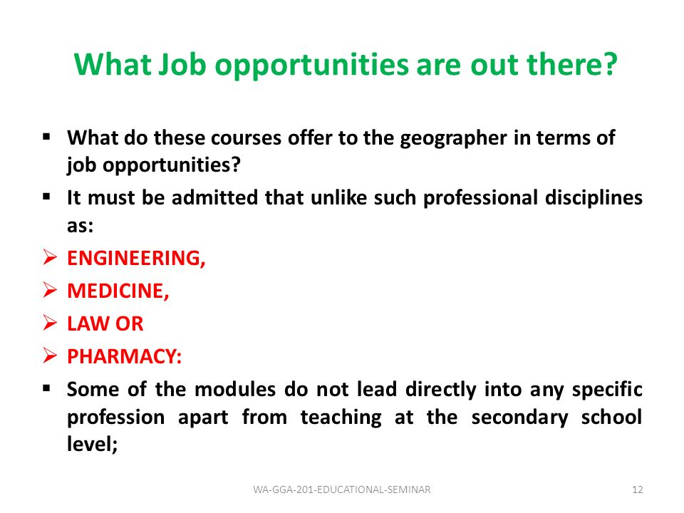 What Job opportunities are out there