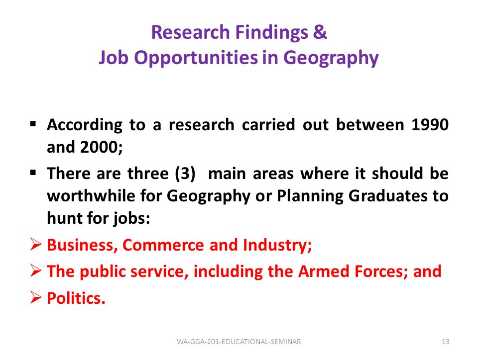 Research Findings & Job Opportunities in Geography