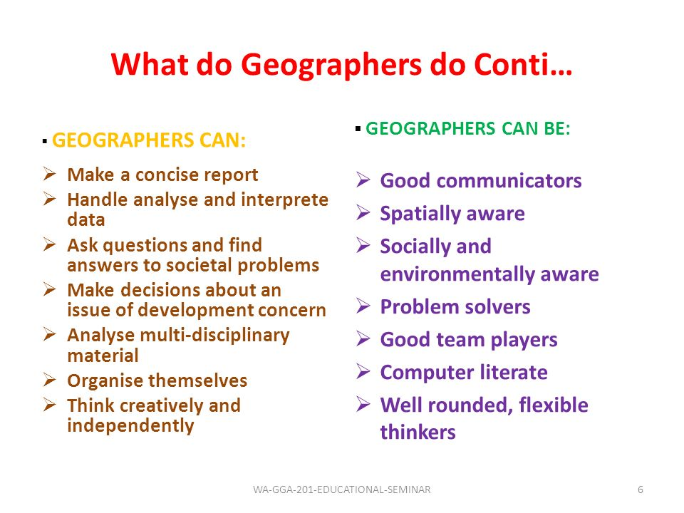 What do Geographers do Conti…