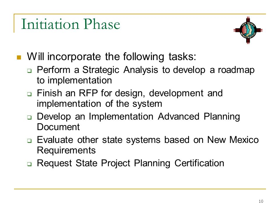 Initiation Phase Will incorporate the following tasks: