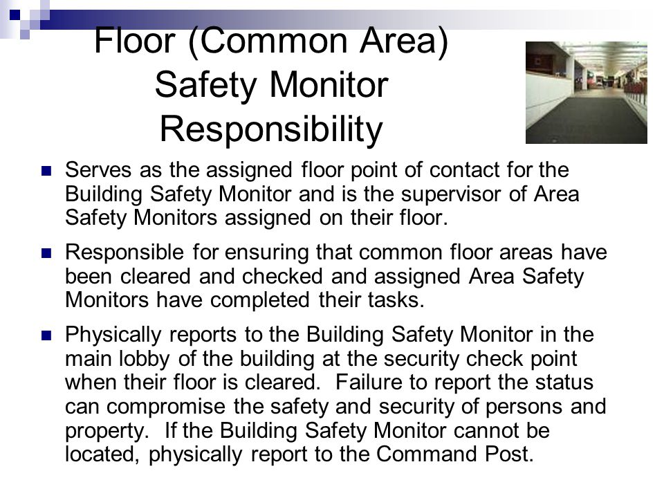 Floor (Common Area) Safety Monitor Responsibility