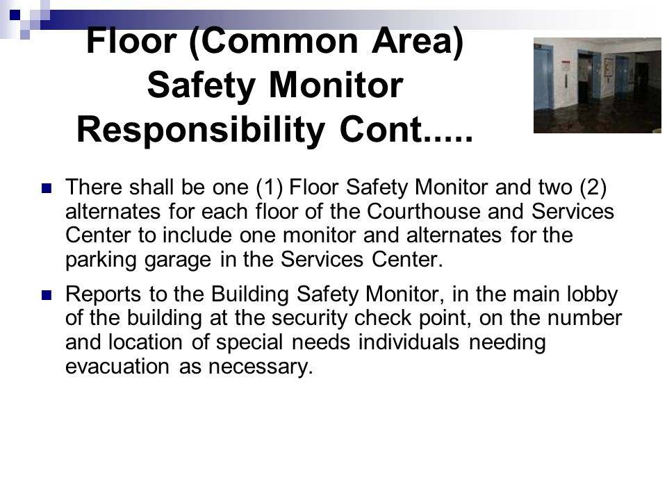 Floor (Common Area) Safety Monitor Responsibility Cont.....