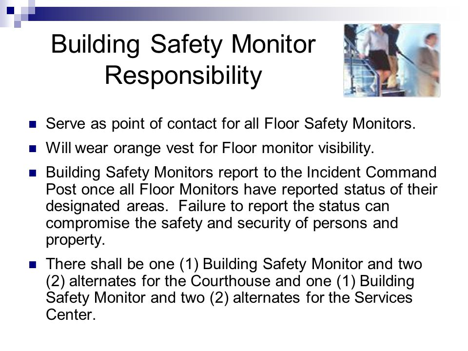 Building Safety Monitor Responsibility