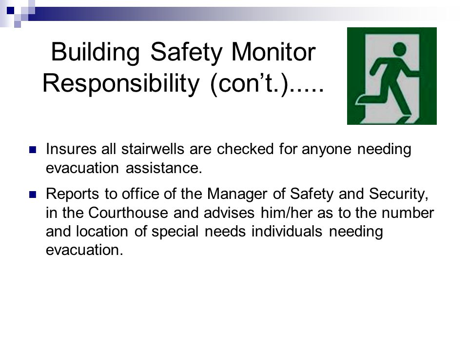 Building Safety Monitor Responsibility (con't.).....