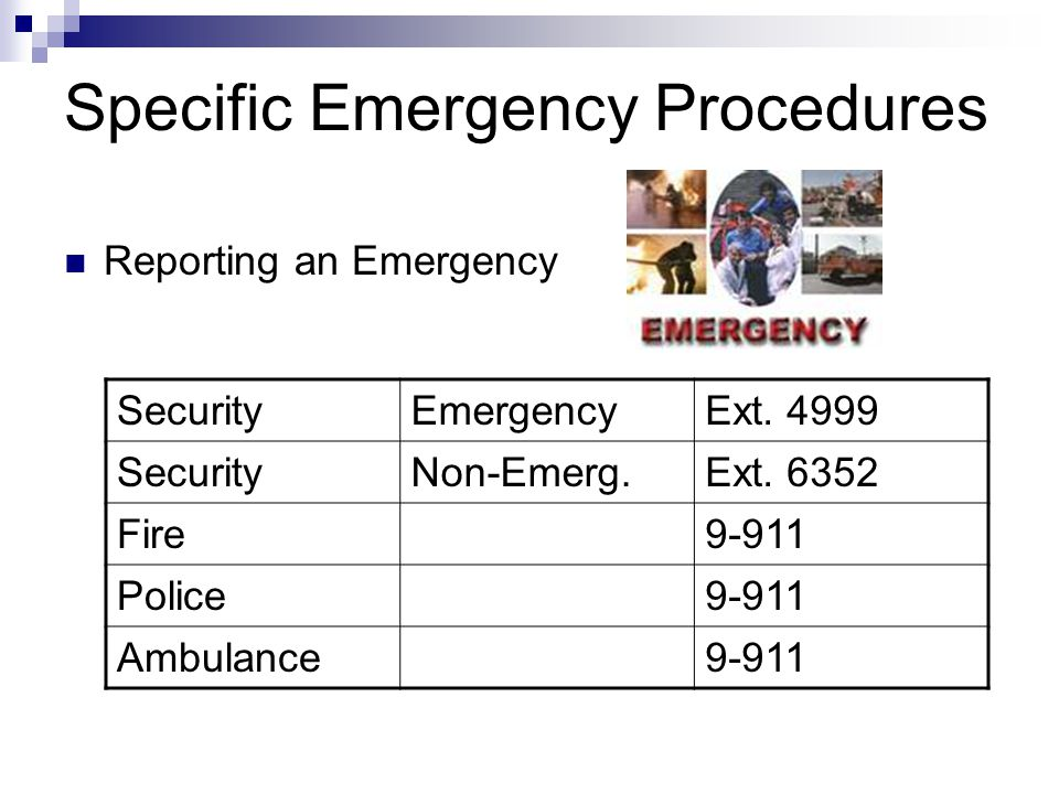 Specific Emergency Procedures
