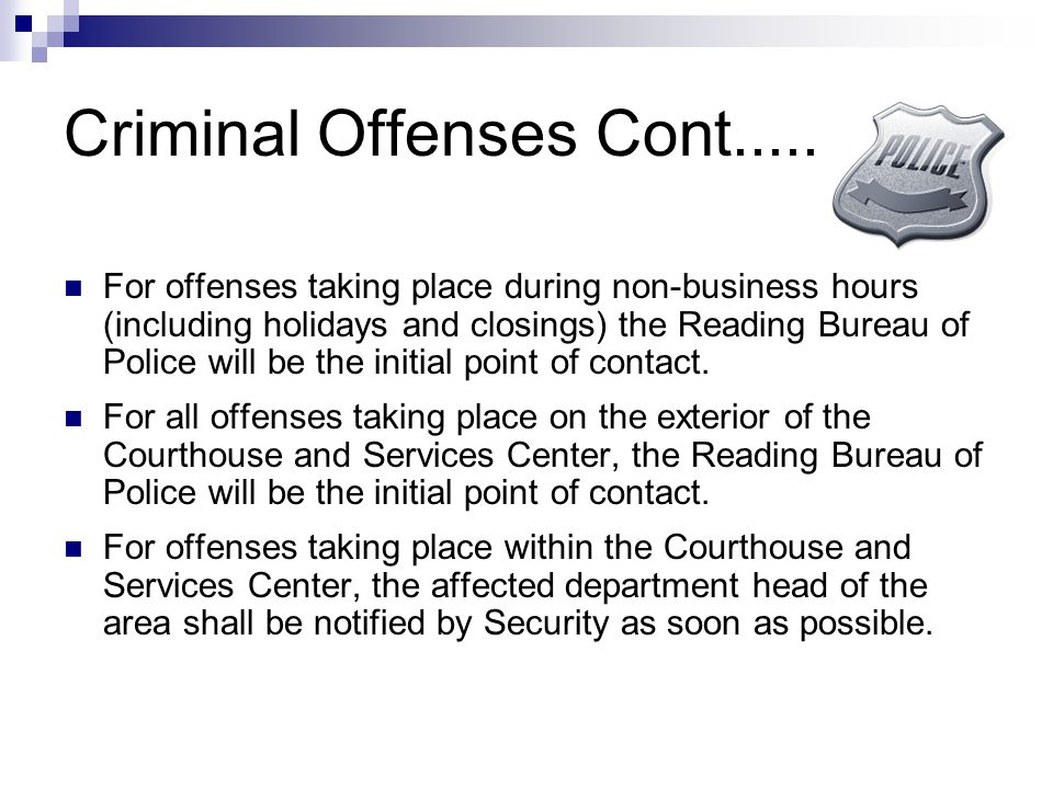 Criminal Offenses Cont.....