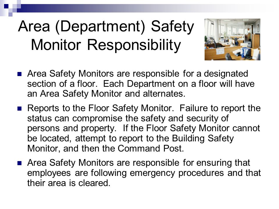 Area (Department) Safety Monitor Responsibility