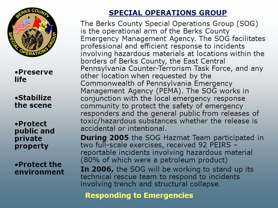 SPECIAL OPERATIONS GROUP Responding to Emergencies