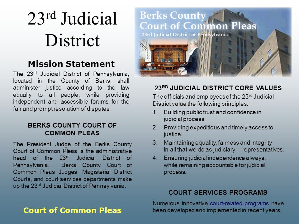 23rd Judicial District Mission Statement Court of Common Pleas