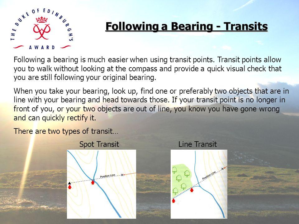 Following a Bearing - Transits