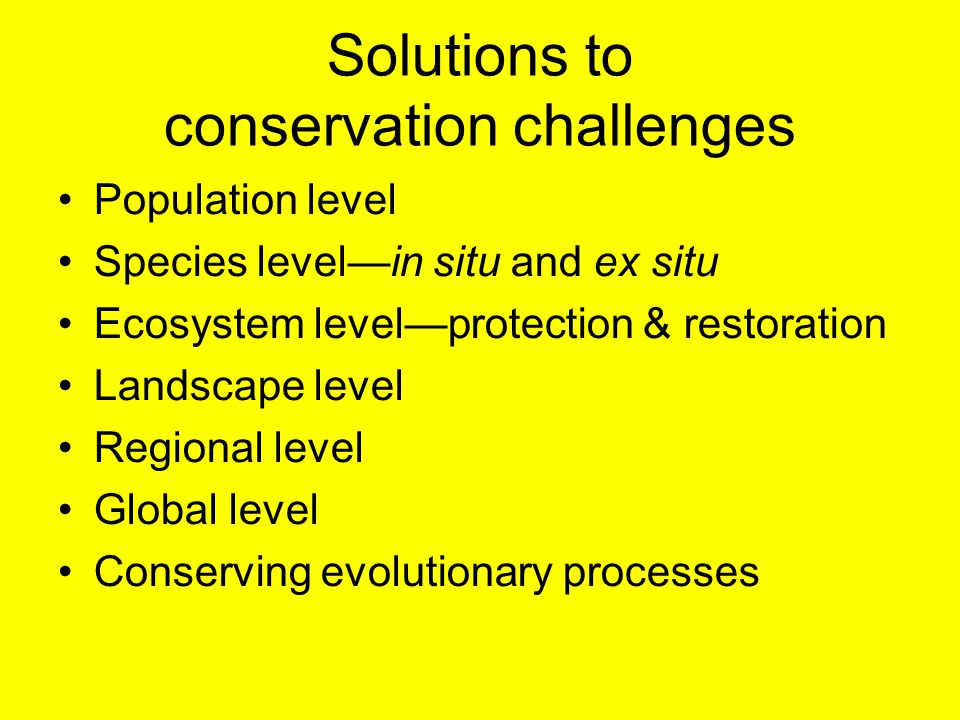 Solutions to conservation challenges